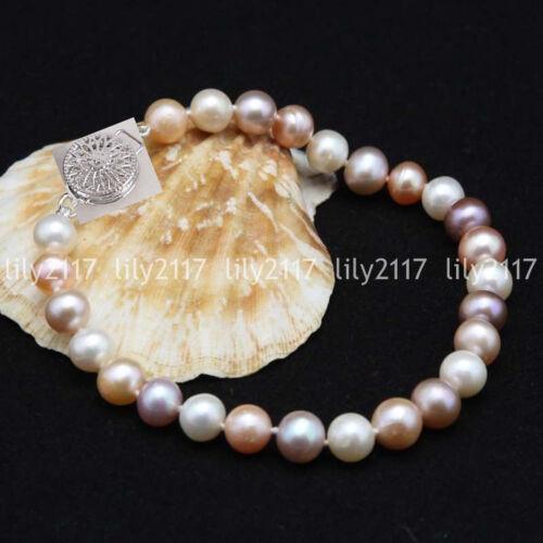 8-9 MM Natural Multi-Color Akoya Cultured Pearl Necklace Bracelet Earrings Set