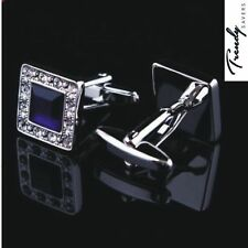 QUALITY MEN'S SILVER BLACK/BLUE CRYSTAL SQUARE CUFFLINKS WEDDING CUFF LINKS