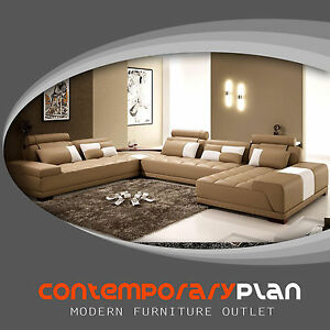 Monte Contemporary Taupe Italian Design Leather Sectional Sofa W