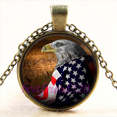 Vintage Eagle With USA Flag Cabochon Glass Bronze Chain Pendant Necklace