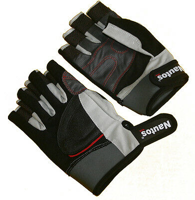 SAILING GLOVES-RACING FIVE FINGERS CUT-BLACK AND GREY--DOUBLE SILICONE