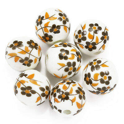 20x Brown White Round  Floral Flower Print Porcelain Ceramic Beads