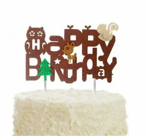 Wondrous Woodland Forest Animal Felt Cake Topper Owl Deer Birthday Party Personalised Birthday Cards Sponlily Jamesorg