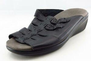 Sas-Tripad-Comfort-Size-9-Ww-Black-Slide-Leather-Women-Sandal-Shoes