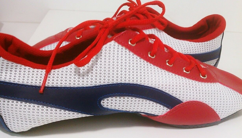 Taygra Brasilien Rot Weiß & Blau Schmal Turnschuhe Flexibel & Hell Schuhe Größe 38    Umweltfreundlich