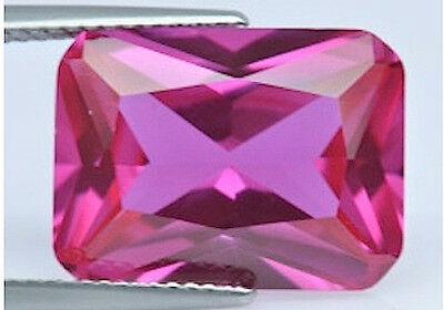 AAA Rated Octagon Faceted Bright Pink Lab Created Sapphire (5x3mm-18x13mm)