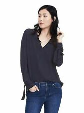 nwt banana republic bow tie cuff blue medium M top blouse shirt long sleeve 2017