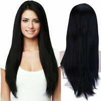 Top Heat Resistant Wig Full Head Straight Natural Black Hair Wigs Long Reusable