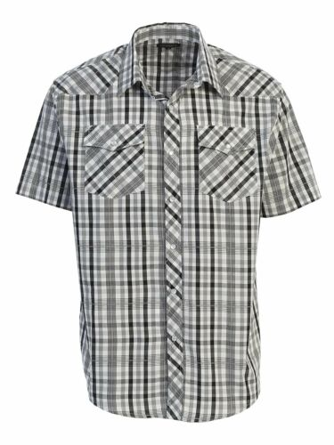 5XL Rodeo Shirt Men/'s Western Plaid Short Sleeve Cowboy Pearl Snap Shirt Size S