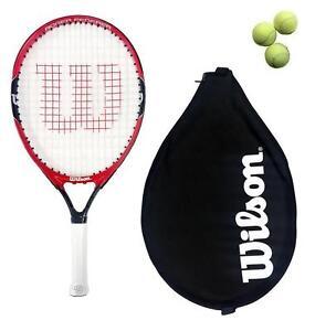 3 balles de tennis Noir//Rouge Wilson Federer Junior 19,21,23,25,26 Raquette De Tennis