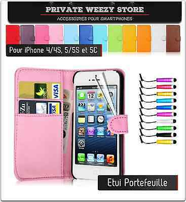ETUI COQUE HOUSSE IPHONE 5 / 4 / 5S  CUIR CARTE CREDIT COULEURS + FILM + STYLET
