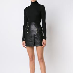 NWT FRAME Overlay Leather Skirt Size 24