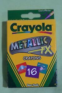 Brand New Rare Vintage Crayola Crayons - Unused 16 Count Box - Metallic FX 2001