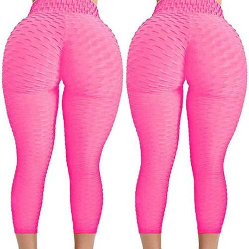 UK Women High Waist Yoga Pants Anti-Cellulite Leggings Ruched Sports Gym Wear A2