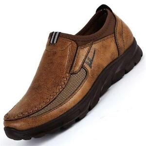 Mens-Leather-Casual-Shoes-Breathable-Antiskid-Loafers-Slip-on-Moccasins-Soft-SZ