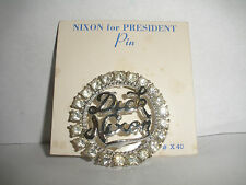 VINTAGE  RICHARD NIXON POLITICAL DICK NIXON PIN BROOCH RHINESTONES SIGN OLEET