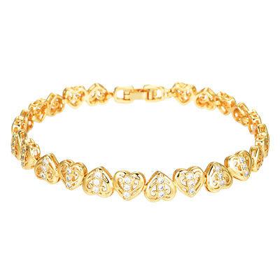 925 Sterling Silver White CZ Love Heart Flower Womens Girls Link Chain Bracelet