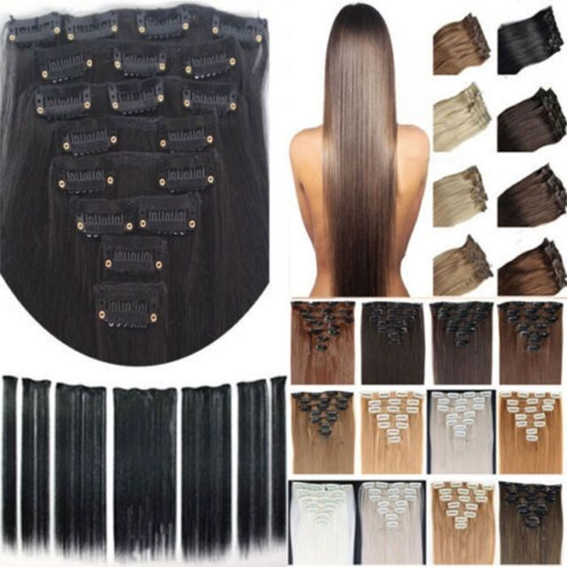 Quality New Hot 8pcs Full Head Clip in Hair Extension for 2014 human Lady Hair E