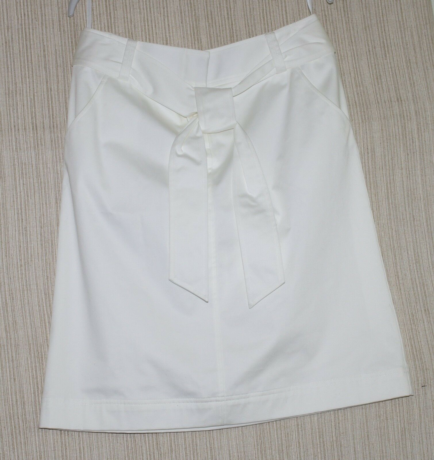 Lafayette 148 New York White  Cotton Blend Belted A Line Skirt Size  8