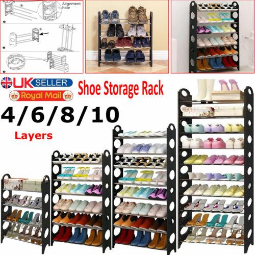 4/6/8/10 Niveaux Rangement De Chaussures Étagère rack Stand Organisateur 12/18/24/30 chaussures Paires