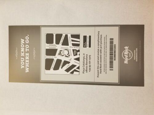Treasures Hard Rock Cafe Barcelona Aerosmith Guitar Promotional Card Flyer