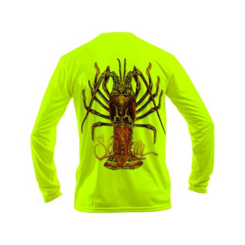 Sea Fear Men/'s 50 UPF Long Sleeve Rash Guard Scuba Diving Lobster-Large Neon YL