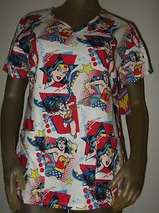 Ladies DC Comics Wonder Woman Hero WW Nurses Vet Scrub V-Neck Top Shirt Uniform