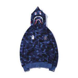 Bape Bathing ape Jacket SHARK Head Camo FULL ZIP HOODIE Long Sleeve Clothes