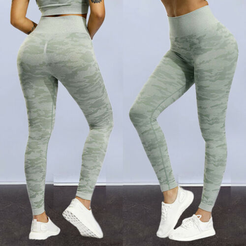 Womens High Waist Yoga Pants Compression Sports Workout Gym Butt Lift Leggings
