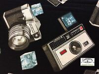 Ks04 Retro Cameras Photography Instamatic Kodak Flash Cotton Quilting Fabric