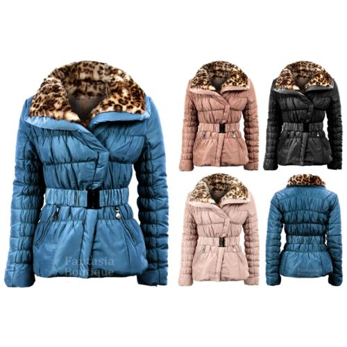 Ladies Belted Padded Quilted Wide Collar Leopard Fur Womens Winter Jacket 1016
