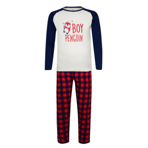 MENS BOYS PYJAMAS DADDY AND SON PENGUIN THEME PJ SETS EX STORE 2Y 3XL NEW