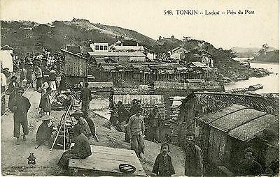 """""""tonkin : Laokaï - Près Du Pont"""" Carte Postale Originale Début 1900 (14x9cm) Elegante En El Olor"""