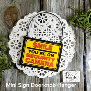 Mini-Sign-Hang-by-Doorbell-Smile-Security-Camera-Home-safety-PORCH-Ring-USA