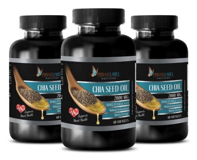Fat burner - CHIA SEED OIL 2000mg - 3 Bottles 180 Softgels for sale online