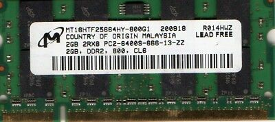 2GB PC2-6400 Laptop Memory HP Part# 441591-888 497693-001 501488-001 506061-001