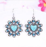 Fashion Hollow Flowers Turquoise Pendant Tibet silver Hook dangle Earrings