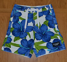 Abercrombie & Fitch Green Mountain Swim Board Shorts Blue White Floral XS 28 £64