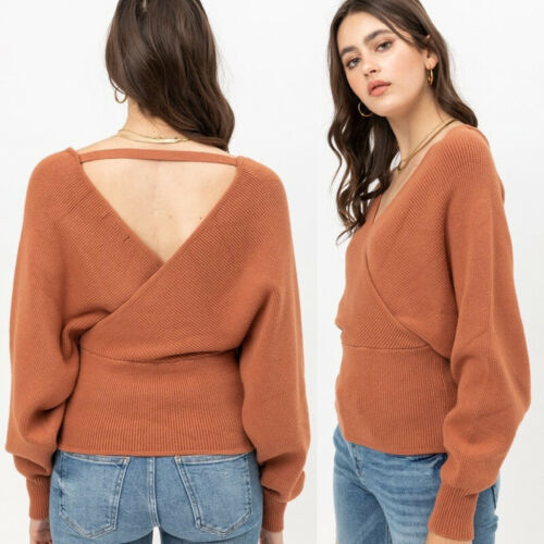 NEW Soft Cozy Terra Cotta Rust Wrap Off Shoulder Dolman Fitted Waist Sweater Top