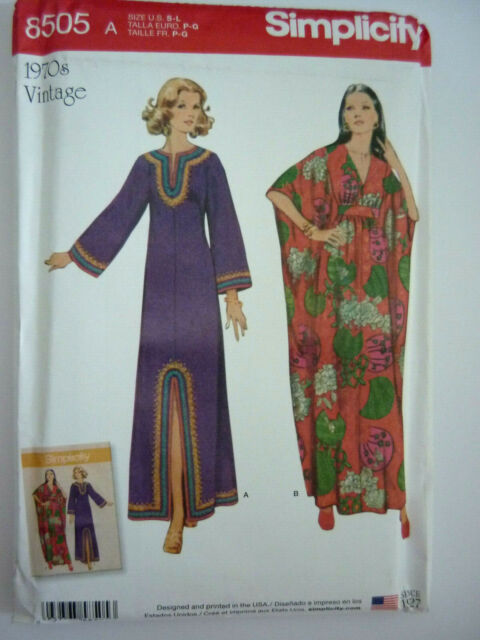 SIMPLICITY 8505 SEWING PATTERN~1970'S REPRINT~CAFTAN IN 2 STYLES~ SZ  SML - LGE