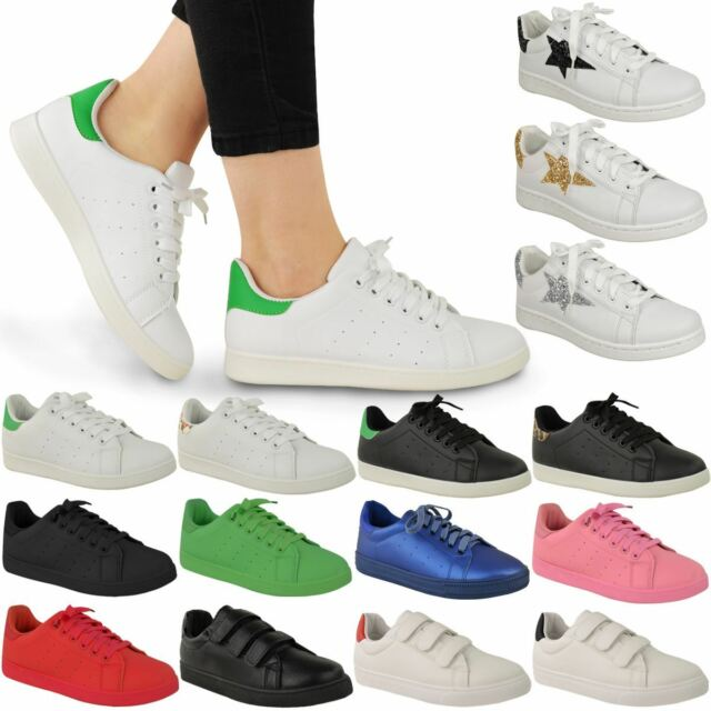 LADIES WOMENS LACE UP VELCRO TRAINERS