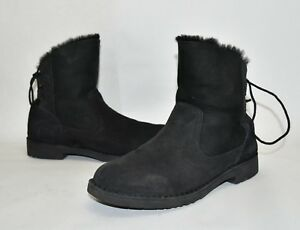 97451825acd Details about New! Ugg Naiyah Lace Back Genuine Shearling Boot Black Suede  Size 9.5 1020144