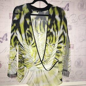 Blouse Kaftan Print Unique 8 Animal Sheer Top Forever Snake Lime Tiger Black fAX8wqqx