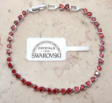 Bracciale tennis oro bianco 18k Uomo Donna,braccialetto infinito SW rosso