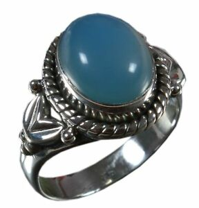 Handmade-925-Solid-Sterling-Silver-Ring-Natural-Chalcedony-Blue-US-Size-7-R1855