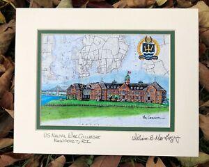 US Naval War College art print Navy Luce Hall Training Veteran Newport RI Map