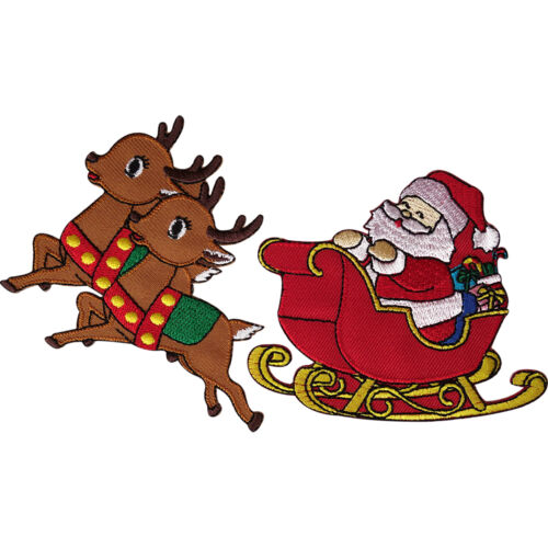Father Christmas Santa Claus Sleigh Reindeer Patch Embroidered Iron Sew On Badge