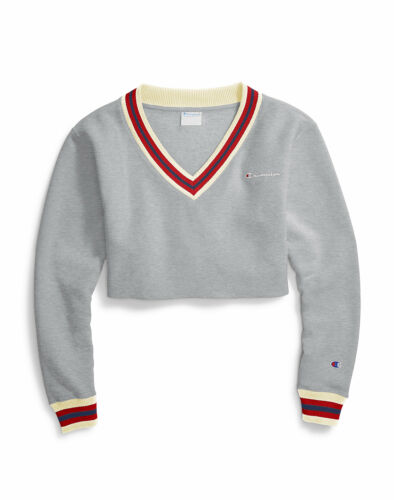 Champion Life Womens Sweatshirt Reverse Weave Cropped Cut Off V Neck Embroidered