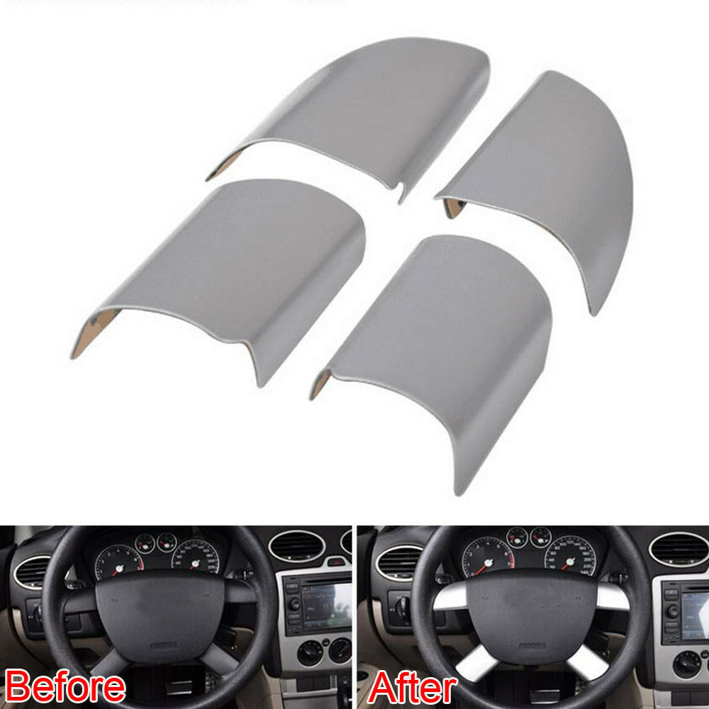 4x For 2009 2011 Ford Focus Interior Decor Steering Wheel Part Trim Cover Steel Ebay