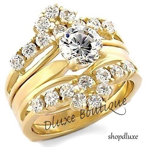 Stunning Round Brilliant Cut CZ 14k GP Wedding Ring /& Band Set Women/'s Size 5-10